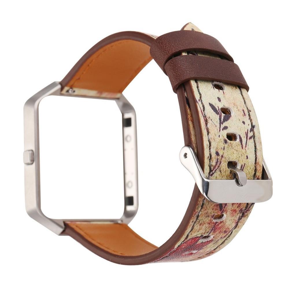 For Fitbit Blaze腕時計ストラップレザーストラップ交換バンドとフレームホルダーシェル C B0791GNH3K C C