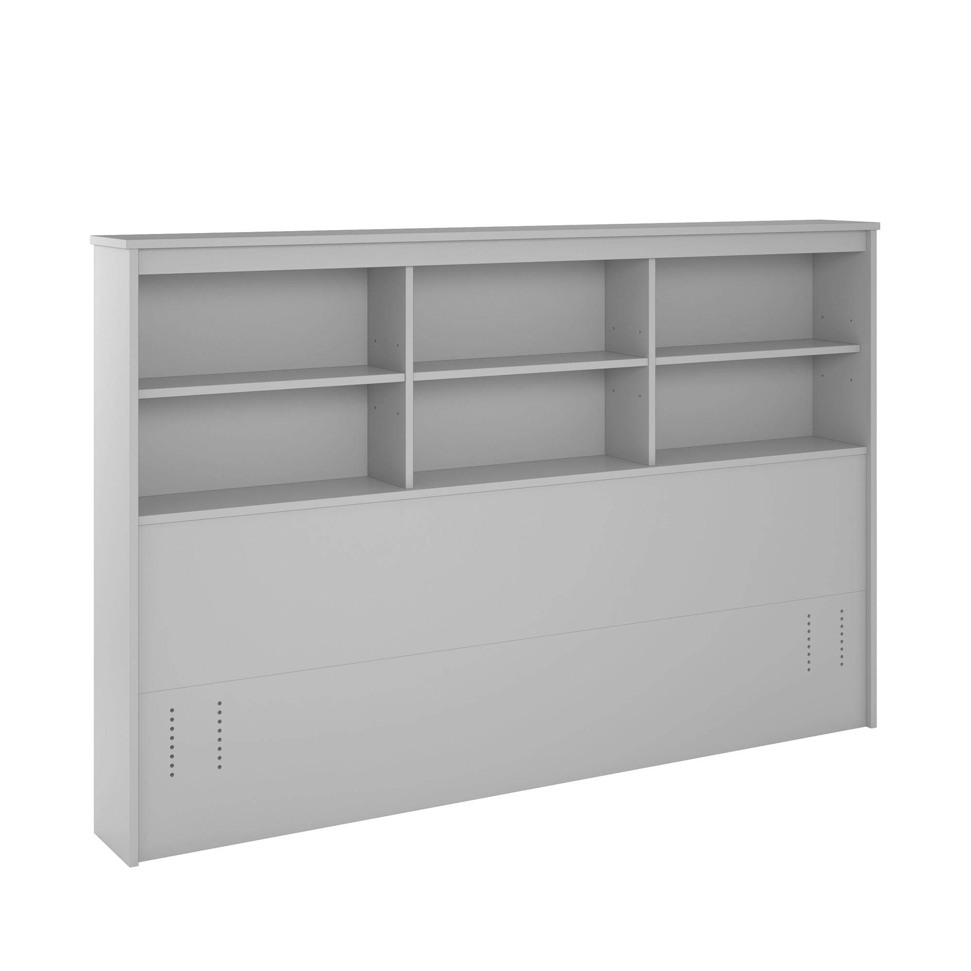 REALROOMS Lacey Full/Queen Storage Headboard, Dove Gray by REALROOMS