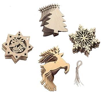 Amazonde 20 Stück Holz Christbaumschmuck Set Weihnachtsbaumschmuck