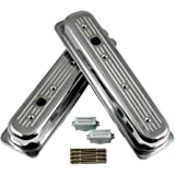 Assault Racing Products A6037 Small Block Chevy Ball Milled Polished Aluminum Centerbolt Short Valve Covers SBC 305 350