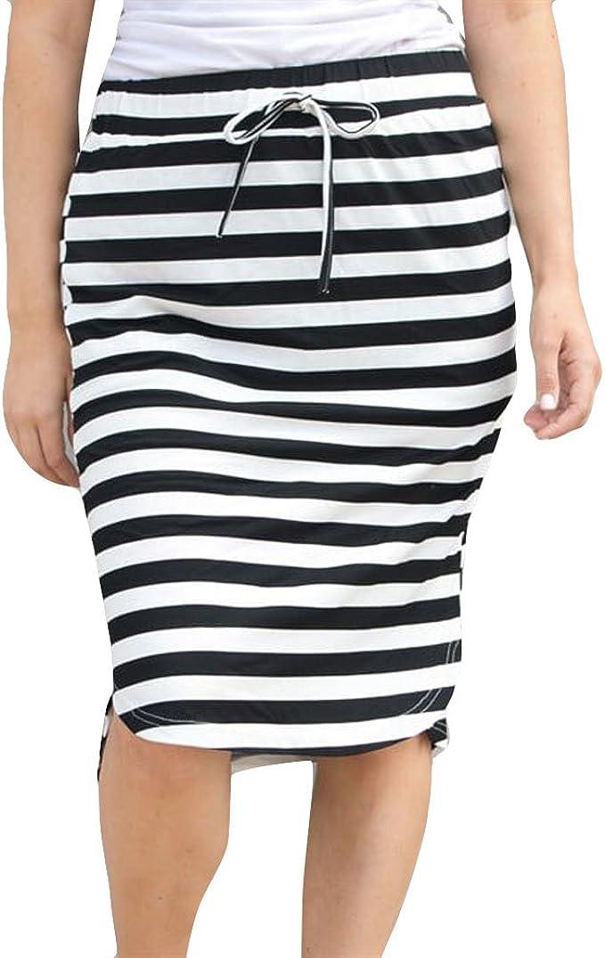 Falda de Cintura Elástica de Rayas para Mujer Elegantes ...