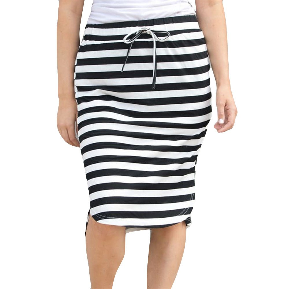 Clearance!Women Horizontal Stripes Hip Skirt,Connia High Waisted Elastic Waist Skirt (XL, White)