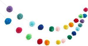 Wool Pom Pom Garland Decoration for Birthdays and Celebrations (10 ft, 24 Balls)