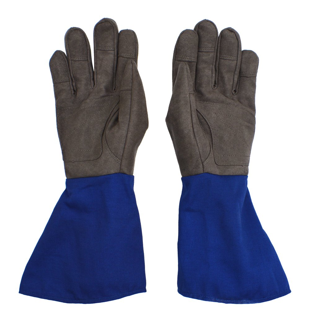 Long Cuff Rose Gardening Gloves - PROMEDIX - Rose Gloves, Cactus Gloves, Blackberry Gloves Thorn Proof Gloves for Man and Woman (M, Blue)