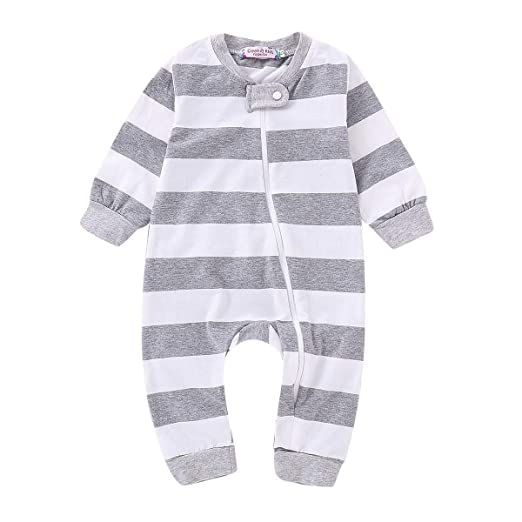 ca38b0ab7 Amazon.com  Infant Toddler Baby Girl Boy Footie Romper Jumpsuit ...
