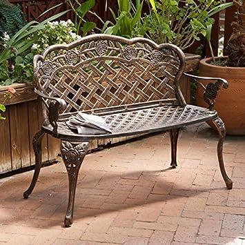 Amazoncom Santa Fe Cast Aluminum Garden Bench Patio Lawn