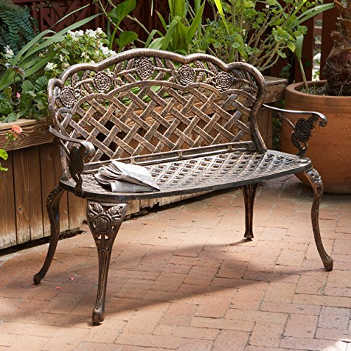 Santa Fe Cast Aluminum Garden Bench (Wrought Iron Outdoor Benches)