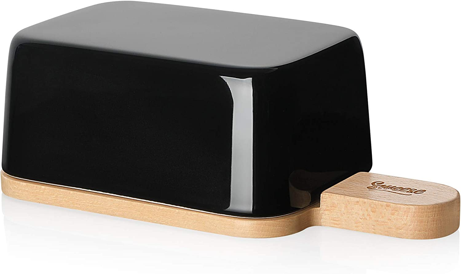 Sweese 323.112 Butter Dish with Lid and Handle, Porcelain Butter Keeper and Extended Wooden Lid, Black