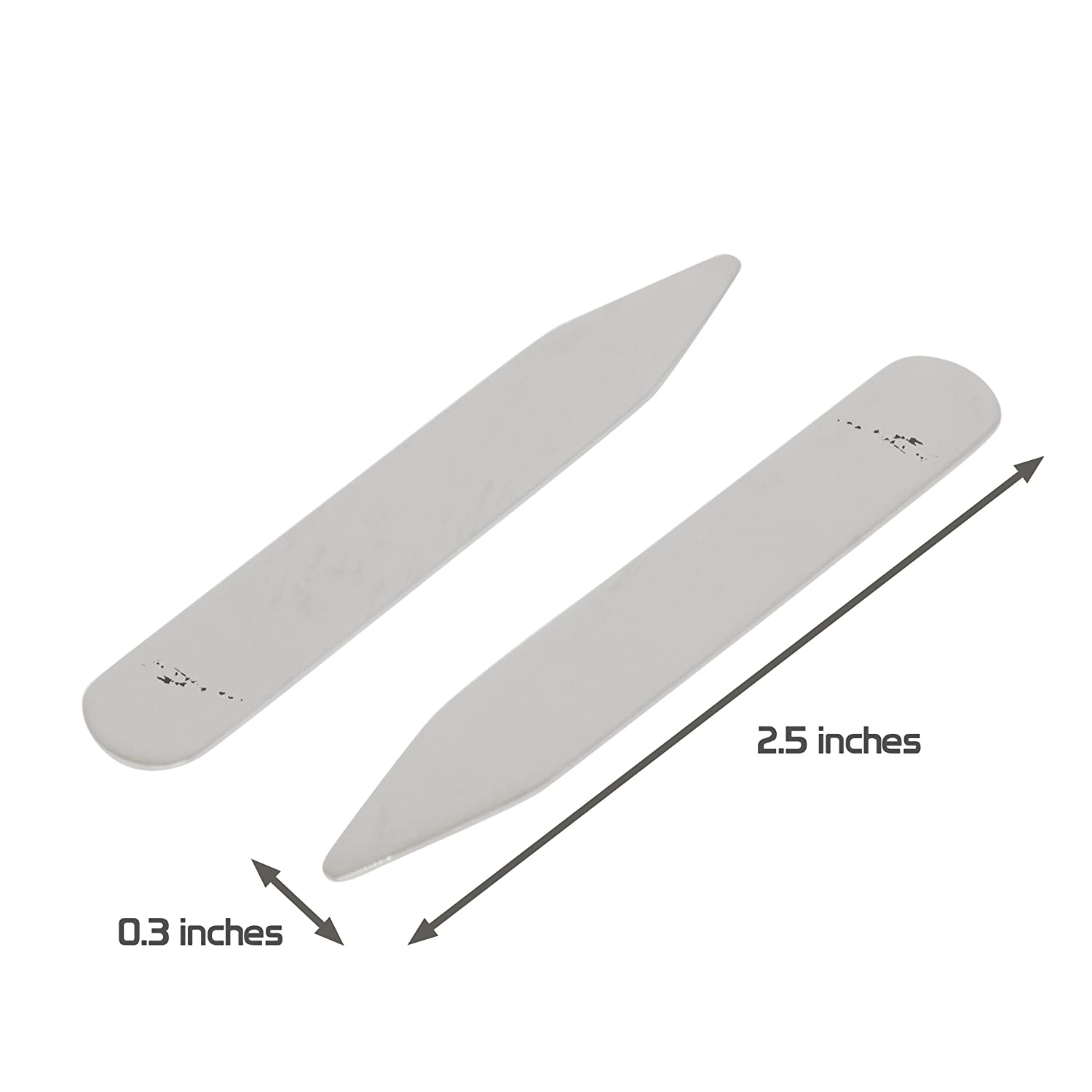 Made In USA MODERN GOODS SHOP Stainless Steel Collar Stays With Laser Engraved Vanuatu Design 2.5 Inch Metal Collar Stiffeners