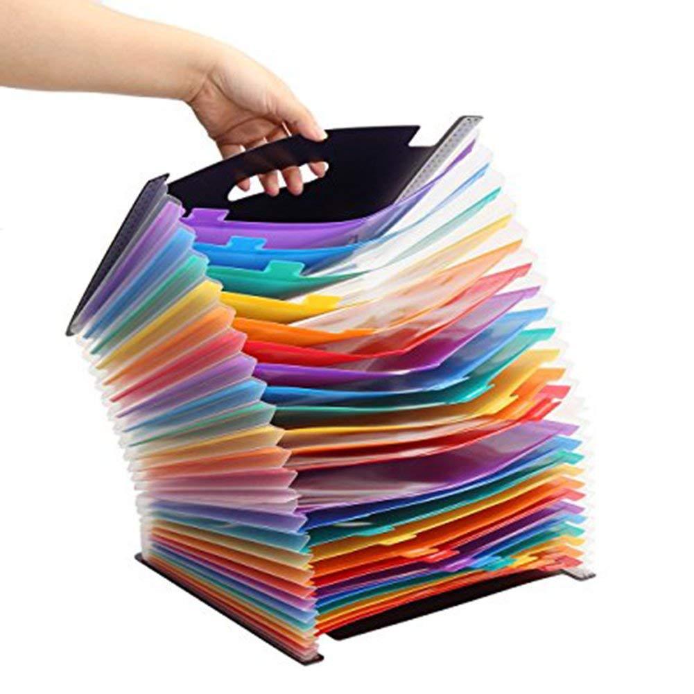 GossipBoy 24 Tasche Impermeabile Cartella Portadocumenti Multicolore Struttura a Fisarmonica in Plastica Espandibile Portatile FSC,Ufficio della Societ/à