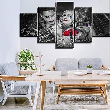 VENDISART,Impressions sur Toile,Sticker Mural Modulaire Affiche D/écoration,5 Panneaux Cadre,Oiseaux De Proie Movie Harley Quinn,avec Cadre,Taille:M//W=150Cm,H=80Cm