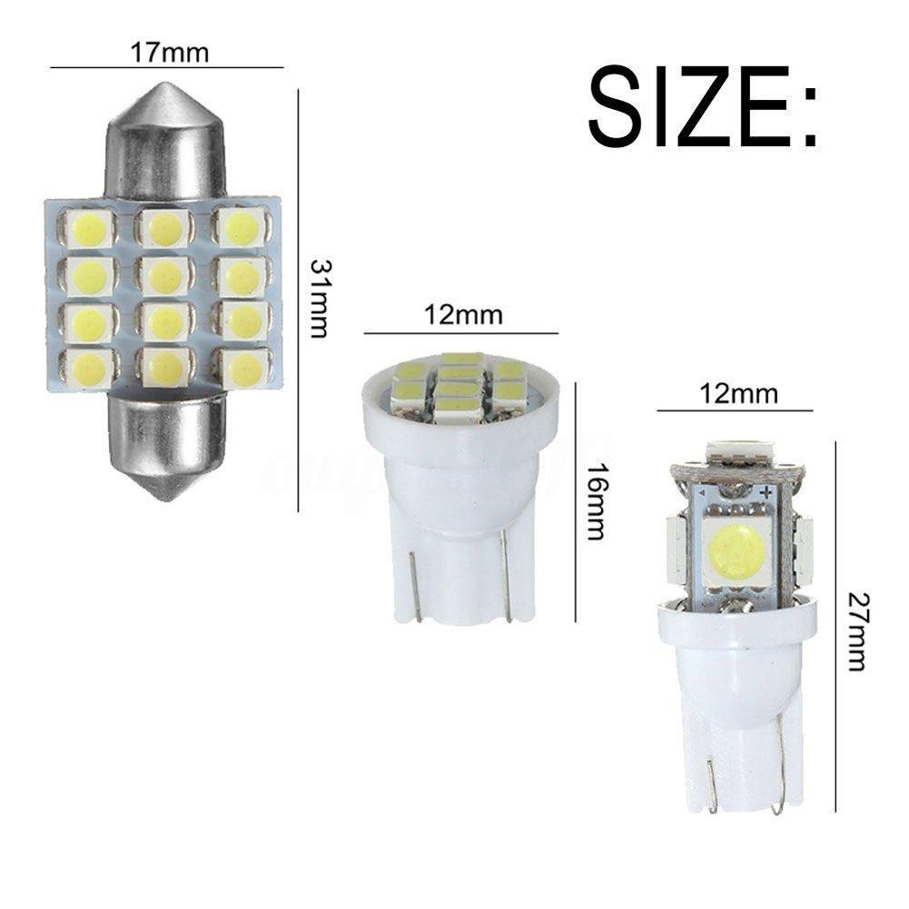 Lzndeal Luz LED,Kit de Luces LED Blanco de 13 Piezas//Juego de Coche para l/ámparas de matr/ícula de Domo Interior de Serie