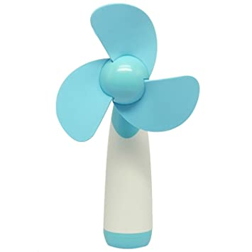 electric hand fan. elisona-flower super mute plastic portable mini electric hand fan cute student handheld blue g