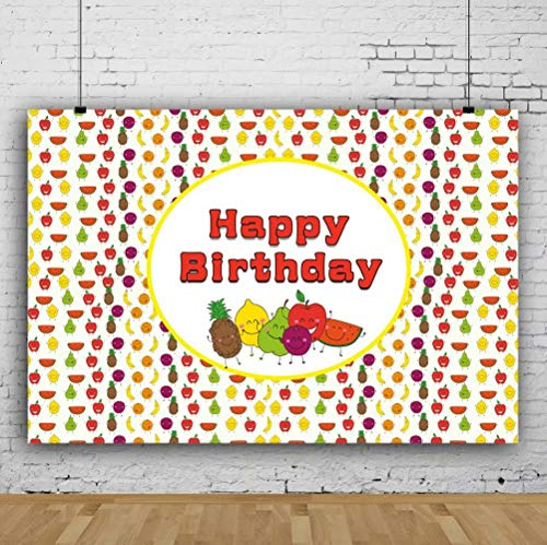 Leowefowa 9x6ft Vinyl Photography Backdrop Summer Fruits Theme Sweet Birthday Party Watermelon Pineapples Apples Background Event Party Decoration Portrait Photo Shoot Studio Photo Booth Props -