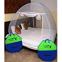 Styleys Foldable Mosquito Net for King Size Double Bed (Blue)