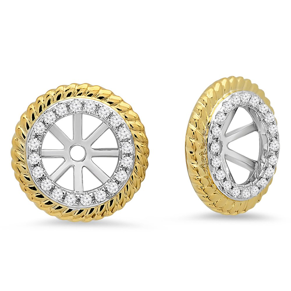 0.15 Carat (ctw) 14K White & Yellow Gold Round Diamond Two Tone Removable Jackets For Stud Earrings