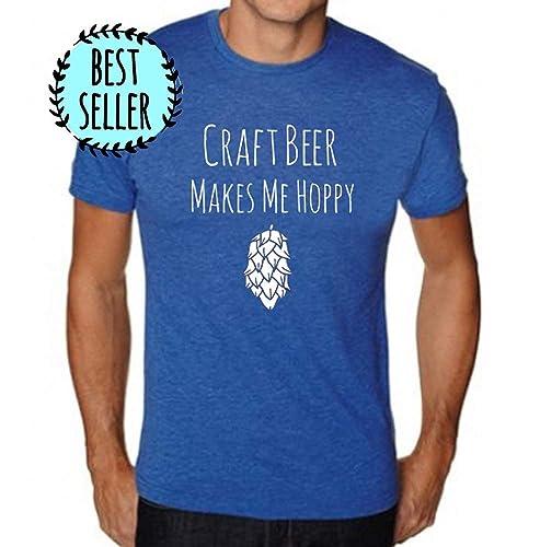 c301499540 Amazon.com: Funny Men's Graphic T-Shirt, Craft Beer Makes Me Hoppy ...