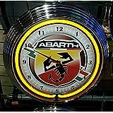 Neon reloj Abarth 595Garage sign Reloj de pared Estados Unidos 50's Style–Neon Color Amarillo