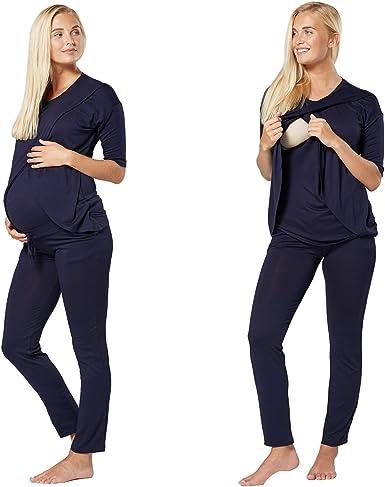 HAPPY MAMA Para Mujer Pijama Premamá Embarazo Lactancia Ropa de Salón 1021