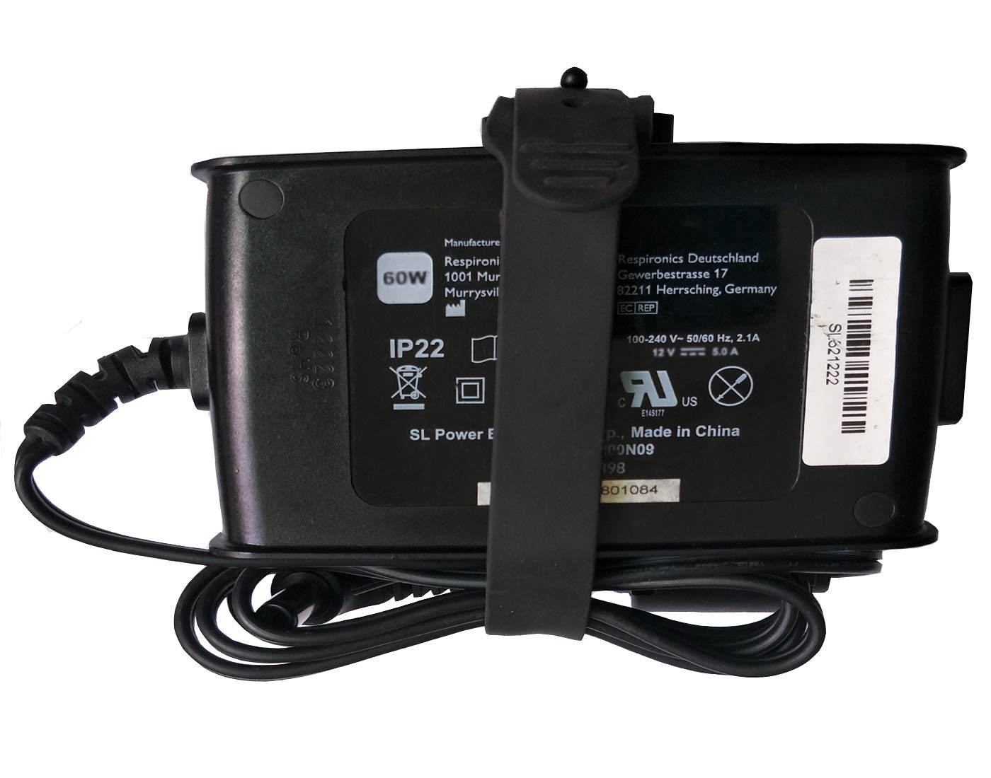 UpBright OEM 60W AC/DC Adapter for Philips Respironics PR REMstar C-Flex AA24750L-003 MW115RA1200N09 REF 1091398 System One 60 Series CPAP APAP BIPAP Pro DOM 460P humidifier IP22 ASTEC 12V 5.0A PSU