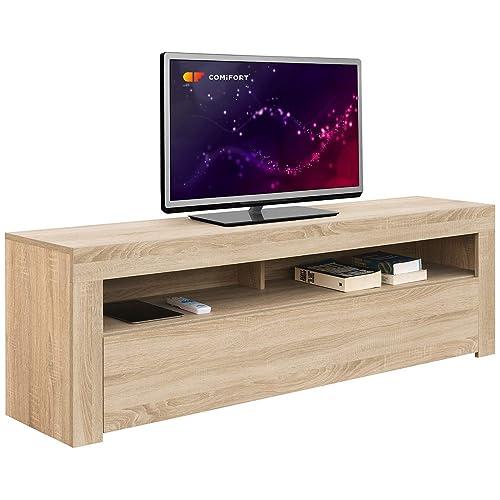 Comifort AP84S – Mueble TV Salón Moderno Mesa Televisión, Colores: Blanco, Blanco/Roble, Roble, Medidas: 160x35x50 Cm (Roble)