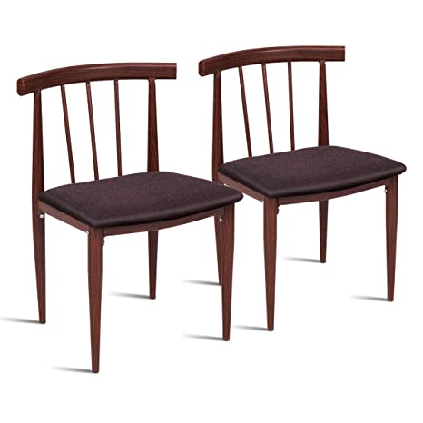 Amazon.com - Brown Set of 2 Dining Chairs Fabric Upholstered ...