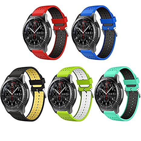 QGHXO Galaxy Watch (46mm)/Gear S3 Frontier/Classic Watch Band, Soft Silicone Replacement Sport Strap for Samsung Galaxy Watch (46mm)/Samsung Gear S3 ...