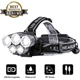 OUTERDO LED Rechargeable Head Torch,LED Headlamp Super Bright Flashlight 10000LM 5 LED 6 Modes Helmet Light Waterproof,Adjustable Angle with Warning Light For Rescue/Camping/Fishing/Climbing