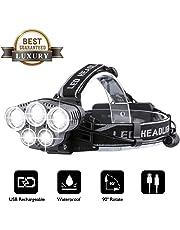 Lampe Frontale Puissante, OUTERDO Lampe Torche LED Rechargeable, Lampe Frontale 10000LM avec 5 LED 6 Modes d'Eclairage avec Câble USB avec Voyant Lumineux pour Camping / Pêche / Escalade