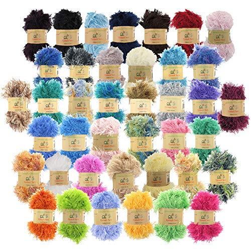 BambooMN JubileeYarn 50g Eyelash Ruffle Fur Yarn, 12 Skeins Surprise Package
