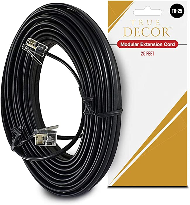 25 Feet Black Phone Telephone Extension Cord Cable Wire with Standard RJ-11 Plugs by True Decor