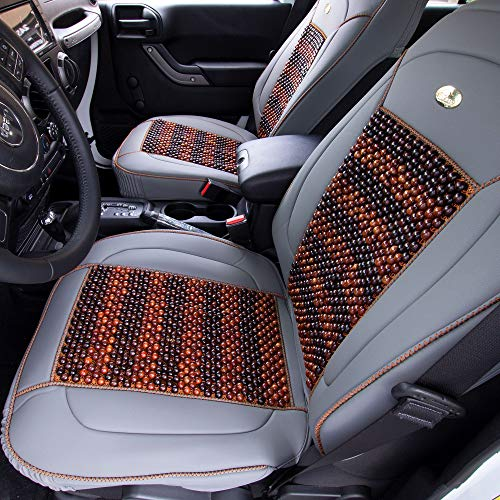 FH Group PU203102 Premium Leather Seat Leather Cushion Pad Seat Covers Gray Color w. Cooling Rosewood Beads-Fit Most Car, Truck, SUV, or Van by FH Group (Image #1)