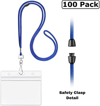Safety Lanyards with Horizontal ID Name Tag Badge Royal Blue Breakaway 100 Pack