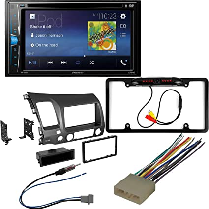 Backup Camera CACH/É KIT2858 Bundle with Complete Car Stereo Installation Kit with Receiver Double Din Dash Mounting Kit Compatible with 2006 5Item 2011 Honda Civic Bluetooth Touchscreen