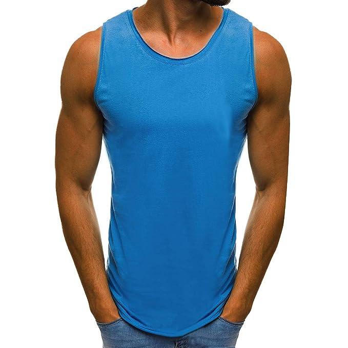 Hibote Hombres Camiseta sin Mangas sin Mangas Chaleco musculoso Camisas Casuales O-Cuello Gimnasio Camisetas