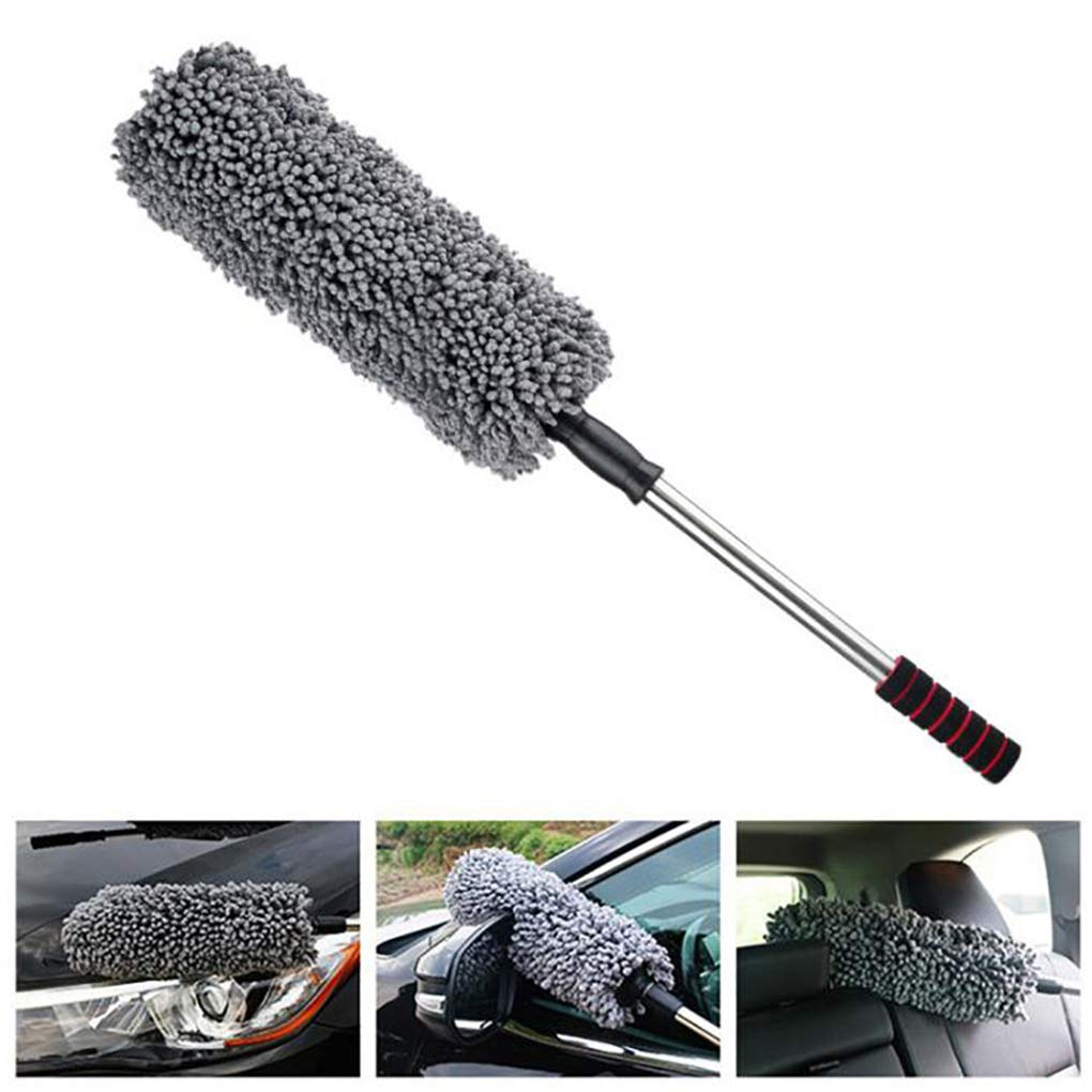 Lupure Car Big Duster Wash Brush, Long Retractable/Soft/Non-Slip/Handle to Trap Dust and Pollen Microfiber,Grey
