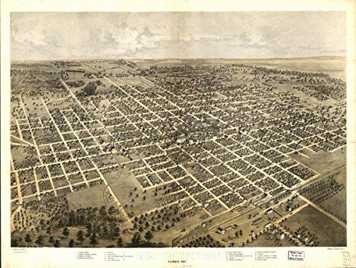 1867 map Bloomington, Illinois 1867|Size 18x24 - Ready to Frame| Bloomington|Bloomington - 1867 Map Illinois