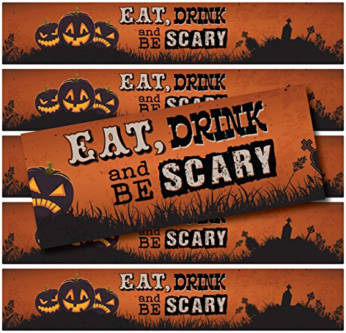 24 Halloween Water Bottle Labels | WATERPROOF | (Eat Drink & Be Scary Pumpkins)