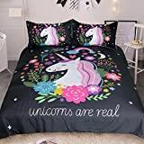 Sleepwish Unicorn Bedding 3 Piece Flower Girl Bedding Set Cartoon Unicorn Pink Black Bedspreads Cute Duvet Covers for Teens (Twin)