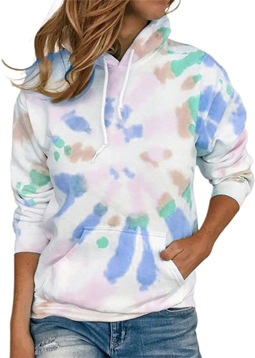 Women Long Sleeve Hoodies Teen Girls Drawstring Pullover Sweatshirts Tie-dye Print Sweater Tops with Pocket