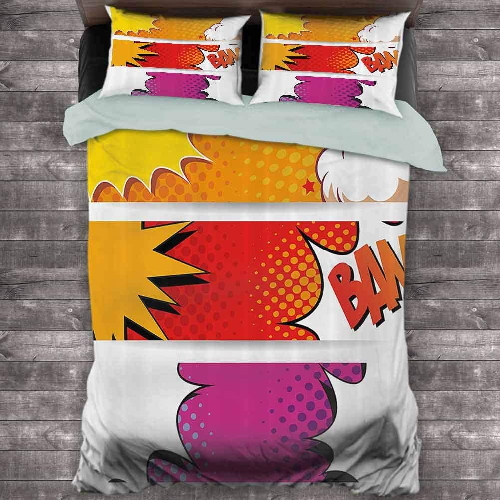 Full Red Fuchsia Earth Yellow Superhero Extra Large Quilt Cover Comic Strip Bubbles Backdrop in Figure Logo Fantasy Fiction Theme Can be Used as a Quilt Cover-Lightweight