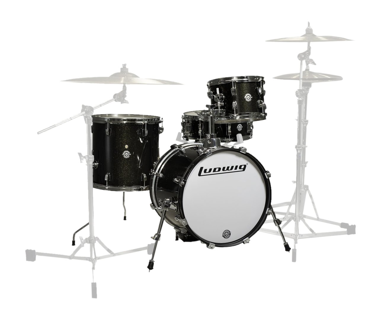 Ludwig LC179X016 Breakbeats 4 Piece Shell Pack with Riser, Black Sparkle