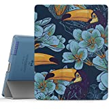 iPad 2 / 3 / 4 Case - MoKo Ultra Slim Lightweight Smart-shell Stand Cover with Translucent Frosted Back Protector for iPad 2 / The NEW iPad 3 (3rd Gen) / iPad 4, Toucan Bird (with Auto Wake / Sleep)