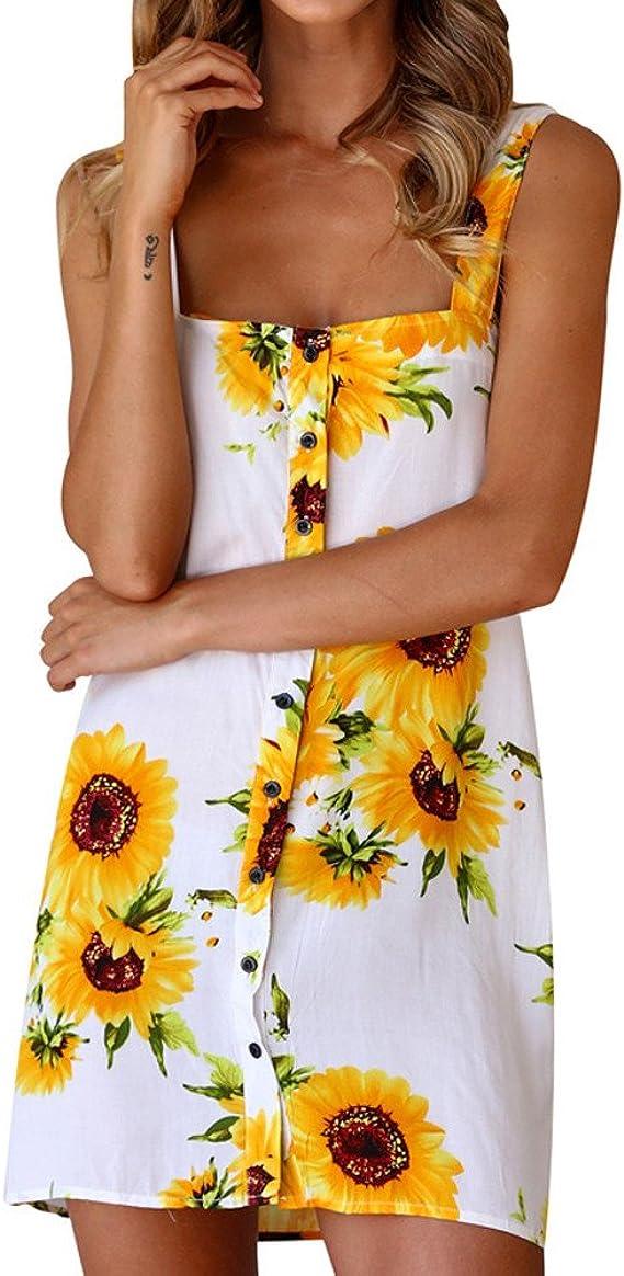 Sruiluo Women`s Dress Summer V-Neck Sleeveless Mid-Calf Formal Solid Dress