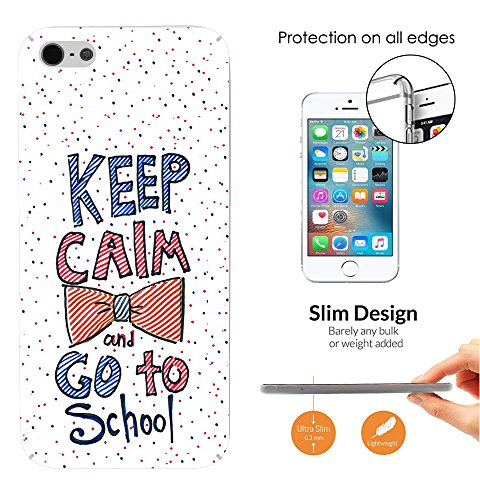 002383 - Cute Bow Keep Calm and Go to School Design iphone SE 2016 / iphone 5 5S Fashion Trend Leichtgewicht Hülle Ultra Slim 0.3MM Kunststoff Kanten und Rückseite Protection Hülle - Clear