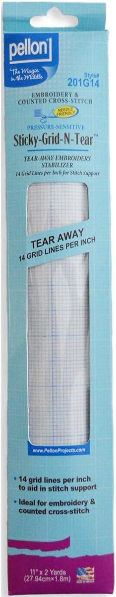 Color Blanco Pellon 11/x 2/Yd Sticky Grid-n-Wash Bordado y Punto de Cruz Estabilizador