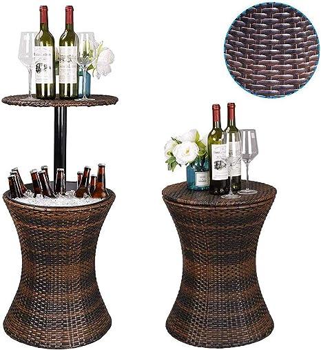 HDJSA Mesa Nevera para Jard Ratán Estilo Pacific Cool Bar Altura Ajustable Patio Party Deck Piscina Uso, Marrón: Amazon.es: Deportes y aire libre