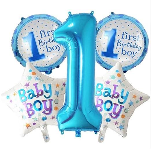 Xpccj Boy or Girl - Juego de Decoraciones para Fiesta de Primer cumpleaños, 5 piezas/21 Globos de Papel de Aluminio, decoración para Fiesta de ...