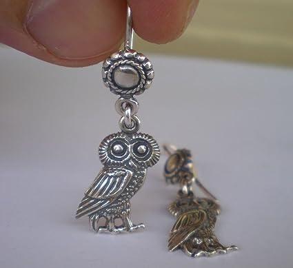 Amazon Com Owl Of Wisdom Silver Earrings Goddess Athena