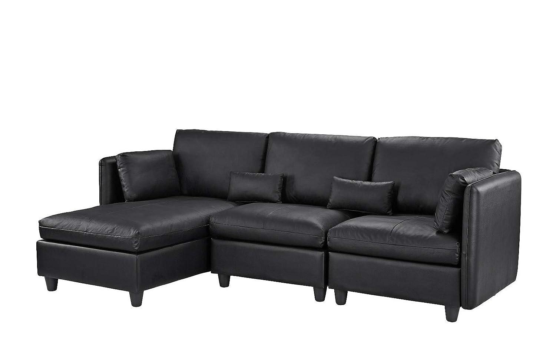 Amazon.com: Sofá de piel con forma de L para sala de estar ...